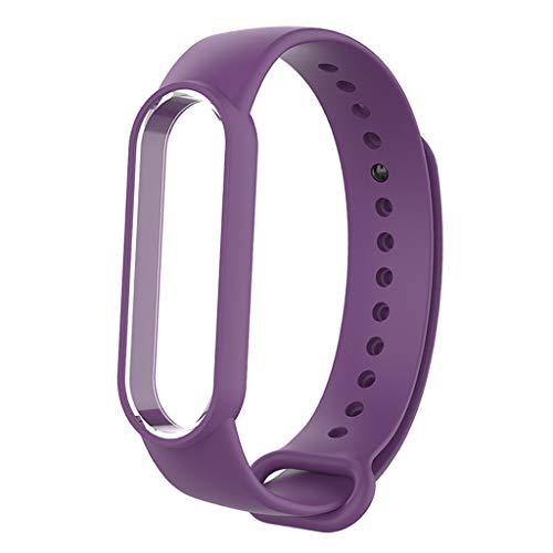 FITYLE Cinturino in Silicone Braccialetto per Xiaomi Mi Banda 5 di Ricambio, Cinghia di Polso del Wristband Smart Watch Band Cinturino Accessori Regolabile per Mi Fascia 5 - Viola