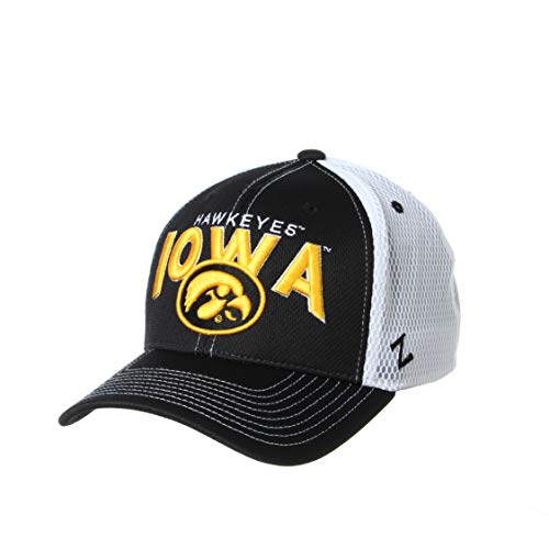 NCAA Iowa Hawkeyes Mens Richmond Performance Hat, Primary Team Color/White, Small