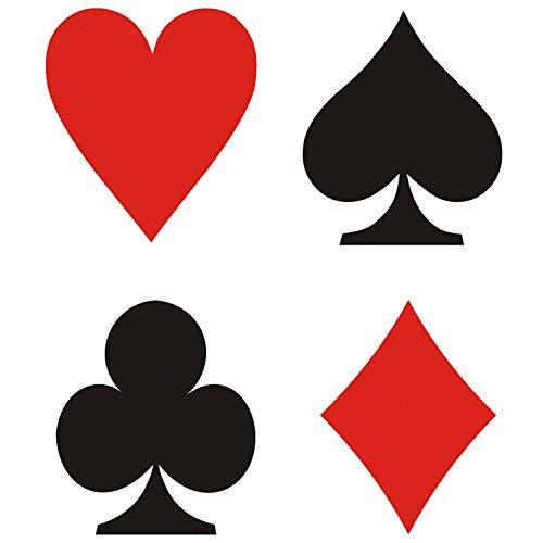 CUSHYSTORE 4 x Pokerkarten für 12,7 cm Casino Las Vegas schwarz rot Aufkleber Vinyl Aufkleber für Motorrad Auto Kofferraum Heckklappe Laptop Tisch Tür Fenster Party DIY