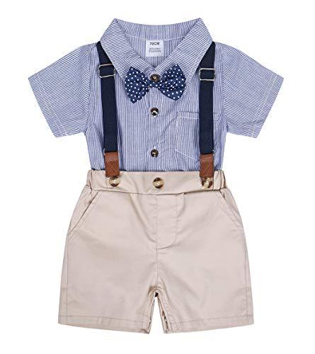 Edjude Traje de Bautizo Niños Manga Corta Corbata de Moño Camisetas de Rayas Mameluco Shorts Tirantes Pantalones Azul 6-12 Meses