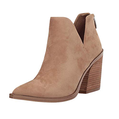 Kathemoi Womens Ankle Boots Slip on Cutout Pointed Toe Chunky Stacked Mid Heel Booties, 1-Light Brown