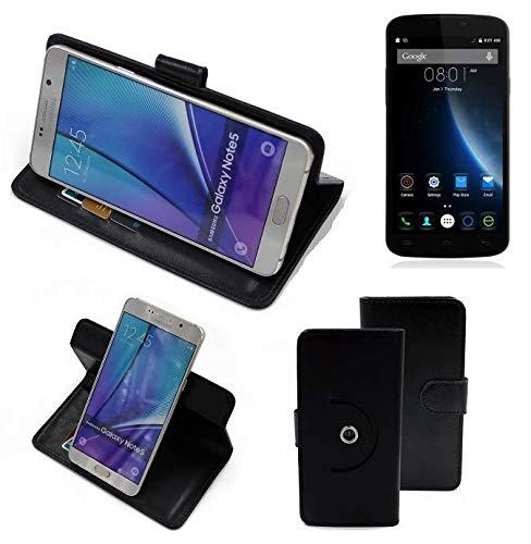 K-S-Trade® Case Schutz Hülle Für -Doogee X6S- Handyhülle Flipcase Smartphone Cover Handy Schutz Tasche Bookstyle Walletcase Schwarz (1x)