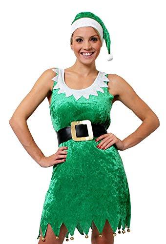 I LOVE FANCY DRESS LTD Déguisement Tenue Sexy d'Elfe avec Cette Jupe Verte Sensation Velour + Un Bonnet Vert + Une Ceinture Noire pour Femme. Ideal pour Les fêtes de Fin d'année. ( Large )