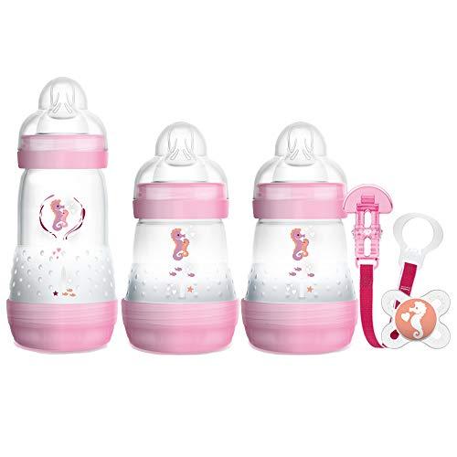 MAM Bienvenido a El mundo fijó incluye Botellas, Chupete y Clip (Rosa), 1 unidad [modelos surtidos]