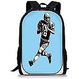 Hui-Shop Sacs d'école de Sport, Joueur de Rugby américain Football League Run Illustration rétro Originale, Bleu Noir Blanc pour garçons Filles