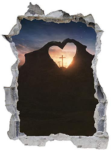 Herz Berg Kreuz Sonnenuntergang Wandtattoo Wandsticker Wandaufkleber E0077 Größe 46 cm x 62 cm