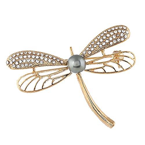 Broches de libélula de perlas de imitación de diamantes de imitación para mujer, broche grande de insectos, accesorios de abrigo de moda, regalo de joyería bonita
