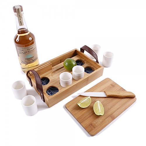 G.U.S. Eco-Friendly Bamboo Tequila Tasting Set with Cutting Board & Ceramic Knife - Great For At-Home Taco Tuesday, Parties, or Family Dinner