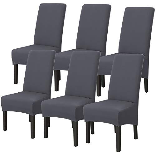 IVYSHION Housse de Chaise XL de Salle à Manger Extensible Couverture de Chaises Dossier Haut Amovible et Lavable Housses de Chaises pour Hotel Décor Mariage Gris 6PCS