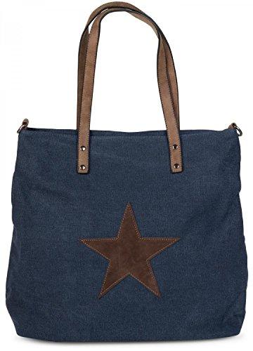 styleBREAKER borsa da shopping in tela con stella cucita, tracolla, borsa a tracolla, da donna 02012048, colore:Blu scuro