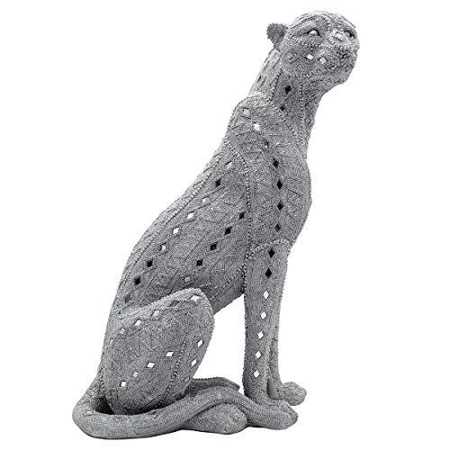 Figura Decorativa de Resina Leopardo Plata Sentado. Adornos y Esculturas. Animales. Decoración Hogar. Regalos Originales. 38,50 x 25 x 53 cm.