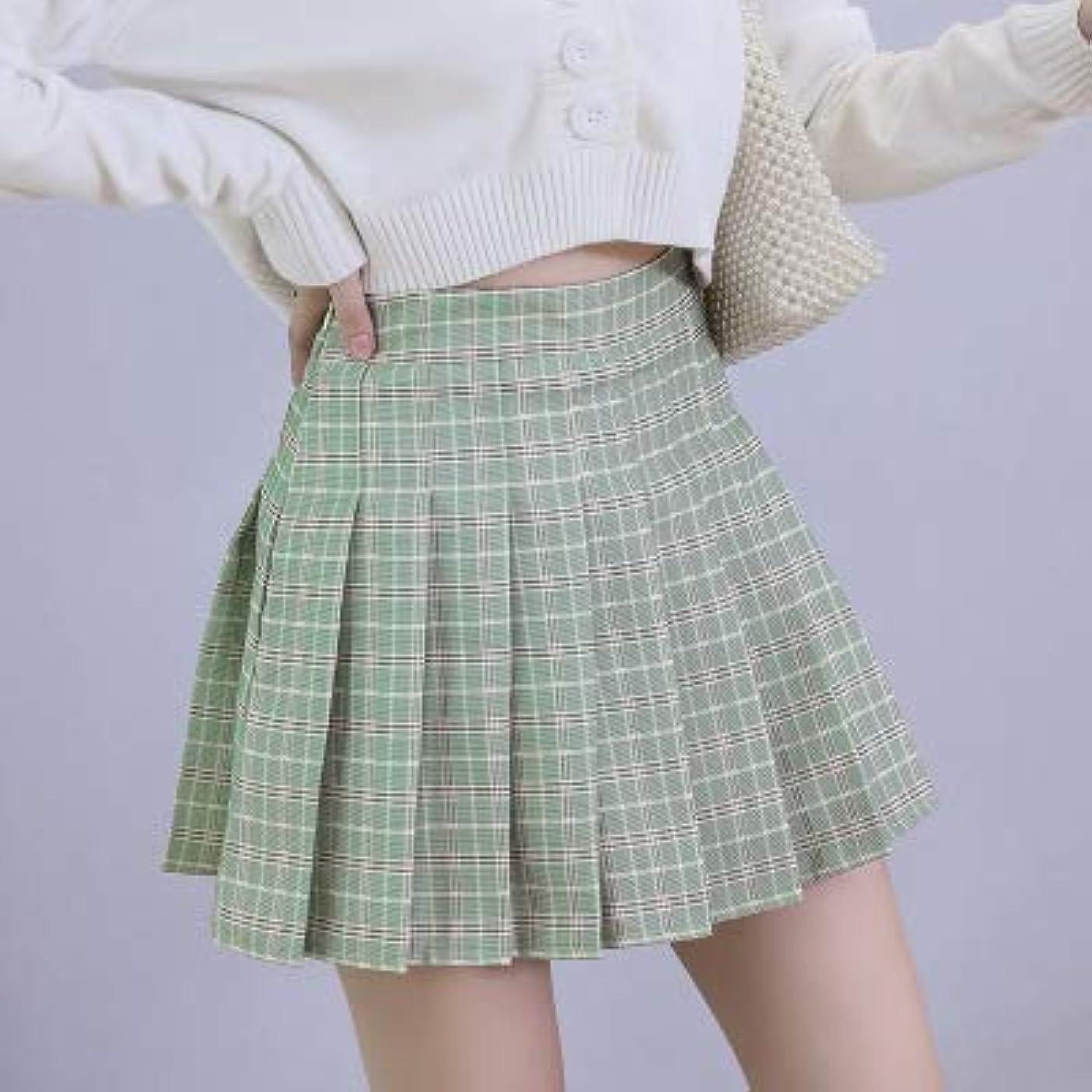 系譜割る本YMKCBB 短いスカート ショートスカートハイウエストミニレディーススカートカワイイピンクチェック柄プリーツテニスカジュアルスカートLグリーン