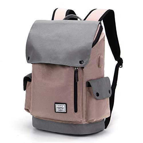 WindTook USB Anschluss Laptop Rucksack Damen Herren Daypack Schulrucksack für 15,6 Zoll Notebook, Wasserabweisend, Rosa und Grau
