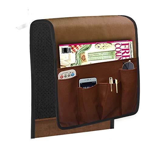 Space Saver - Organizador de reposabrazos para sofá de gamuza, impermeable, se adapta a teléfono, libro, revistas, soporte remoto de TV 13 * 35 inch marrón
