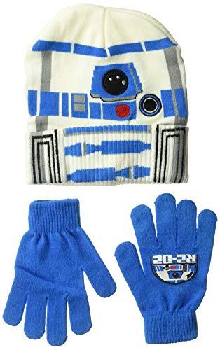 Star Wars Jungen R2-D2 Wintermütze & Handschuh im Set, weiß/blau, Einheitsgröße