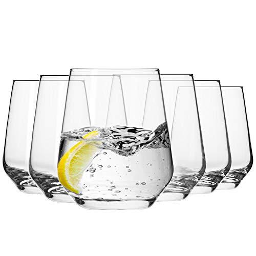 Krosno Bicchieri Acqua Succo Tumbler Vetro | Set di 6 | 400 ML | Collezione Splendor | Ideale per la Casa, Ristorante Feste e Ricevimenti | Adatto alla Lavastoviglie e al Forno a Microonde.