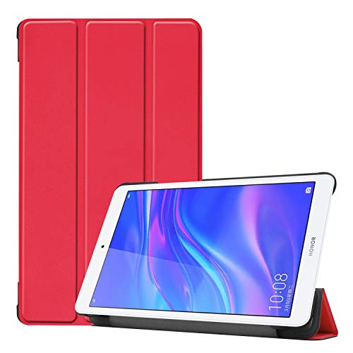 Shockproof hard and comfortable protective case Solid Color Custer Texture Horizontal Flip PU Leather Case for Huawei Honor Tab 5 8.0, with Three-folding Holder,Simple, comfortable, easy to carry. (Bl