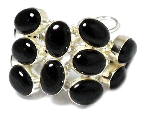 Grueso. Color negro Onyx plata de ley 925Gemstone pulsera(B) bl2307151)