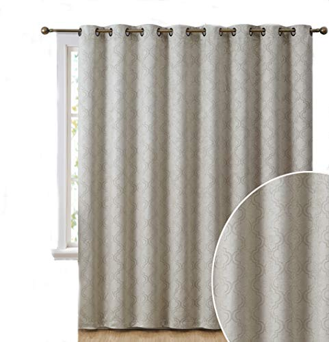 HLC.ME Redmont Lattice Extra Wide-Width Thermal Insulated Energy Efficient Room Darkening Blackout Grommet Patio Door Curtain Panel for Sliding Doors (108 x 99 inches Long, Dark Grey)