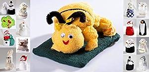 HK-Kleinmann Frottier Geschenk Set Handarbeit Origami Gästetuch Handtuch Waschhandschuh, Motiv/Art:Biene