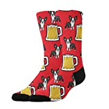 Jinkela - Calcetines Unisex con diseño de Boston Terriers con Cerveza y Texto en inglés Happy New Year