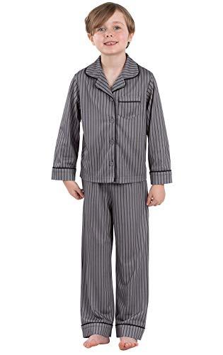 PajamaGram Big Boys' Pajamas Jersey - 2 Piece Long Sleeve Pajamas for Boys Charcoal