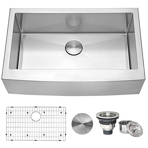 Ruvati 33-inch Farmhouse Apron-Front Kitchen Sink Stainless Steel Single Bowl - RVH9233