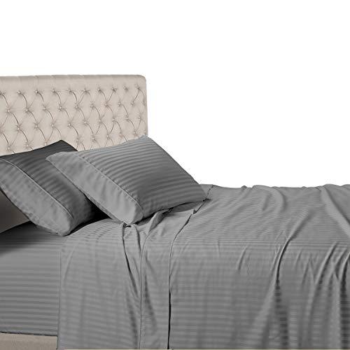 Royal Hotel Stripe Sheets - 600 Thread Count - 4PC Bed Sheet Set - 100% Cotton - Sateen Stripe, Deep Pocket, King Size, Gray