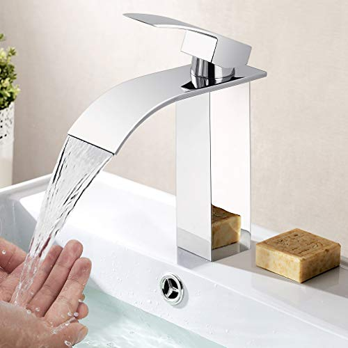 Eleganter Wasserhahn Bad Wasserfall, WOOHSE Badarmatur Waschtischarmatur für Bad Waschbecken, Einhand-Waschtischbatterie Armatur Bad, Kalt + Warmwasser Mischbatterie, Lebenslange Garantie