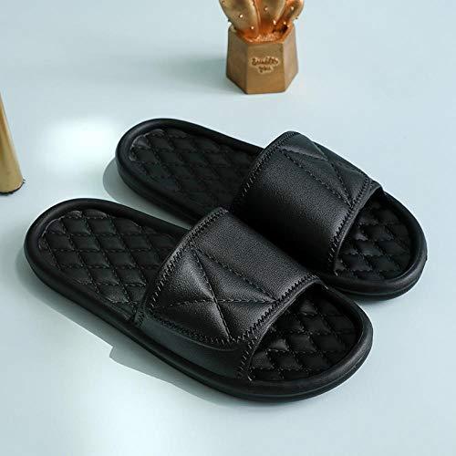 Interiores Antideslizantes Baño Sandalia,Zapatillas de Plataforma Antideslizantes, Sandalias de baño de Suela Blanda para el hogar-Black_40-41,Zapatillas Pantuflas de Playa de Hombre