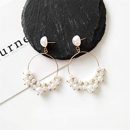 FEARRIN Pendientes Vintage para Mujer Pendientes de Perlas de joyería Dulce y Capaz con Alambre de Metal Pendientes de Gotas de Perlas múltiples para Mujer Goldearringstud