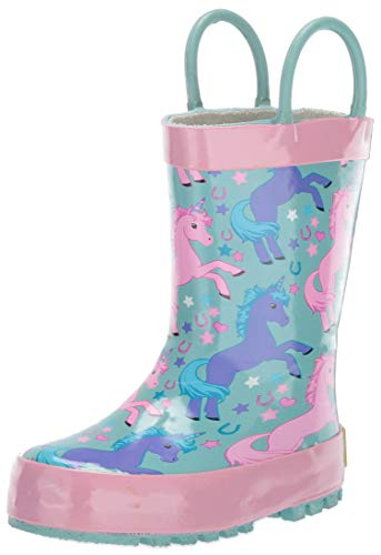Western Chief Boy's Waterproof Printed Rain Boot, Lucky Unicorn, 11-12 M US Little Kid
