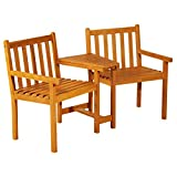 Outsunny Garden Wooden 2 <span class='highlight'>Seat</span>er Companion <span class='highlight'>Seat</span> Love <span class='highlight'>Seat</span> Patio Partner Bench with Middle Table