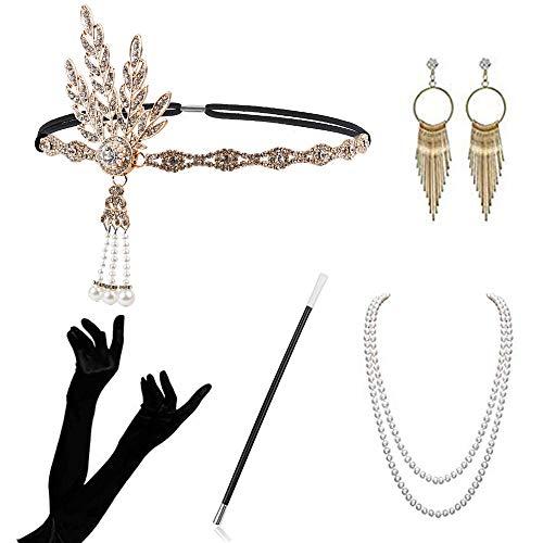 Atuka 1920er Jahre Zubehör Set Flapper Kostüm Charleston Accessoires für Damen 1920s Gatsby Jahre Stirnband Kopfschmuck Ohrringe Perlen Halskette Handschuhe Zigarettenspitze (Style #2)