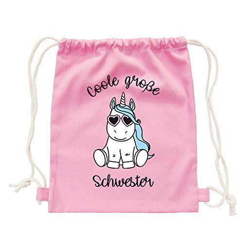 """Partybob Kinder Rucksack """"Coole große Schwester"""" - Einhorn (Rosa)"""