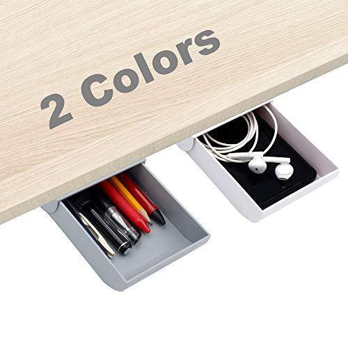 Organizador para cajón debajo del escritorio, 2 cajones para colgar en el escritorio, ocultos debajo de la mesa y organizadores para bolígrafos, lápices, teléfonos, clips, etc.