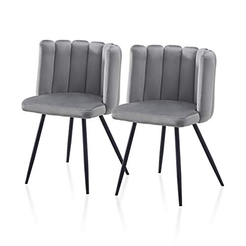 TUKAILAI 2PCS Unique Velvet Dining Chair Thick Padded Upholstered Seat with Black Metal Legs for Dining Room Accent Chair for Bedroom Modern Leisure Armchair Tub Chair for Living Room Grey