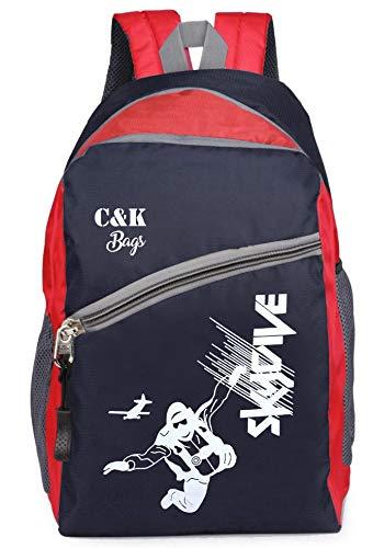 Chris & Kate Comfortable 28 Ltrs Polyester Blue-Red Bag - Casual Backpack - 15.6 Inch Laptop Bag - School Bag - College Bag