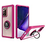 UNC Pro 2 in 1 Front & Back Cell Phone Case for Samsung Galaxy Note 20 Ultra with 360 Degrees Rotating Ring Kickstand, Heavy Duty Hybrid Shockproof Bumper Case Cover, Hot Pink