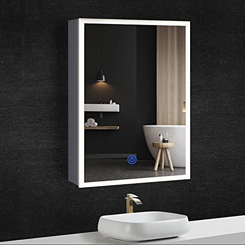 DICTAC Specchio Bagno Contenitore con Anello LED + Presa, Tocco Intelligente, IP44, 3-Colore LED(3000-6500K Regolabile), Metallo Scocca, 50x72x13,5 cm, Bianco, Facile da Pulire.