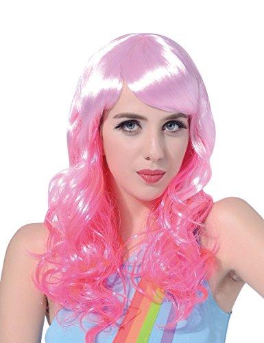 Generique - Perruque Glamour avec Frange Rose Femme