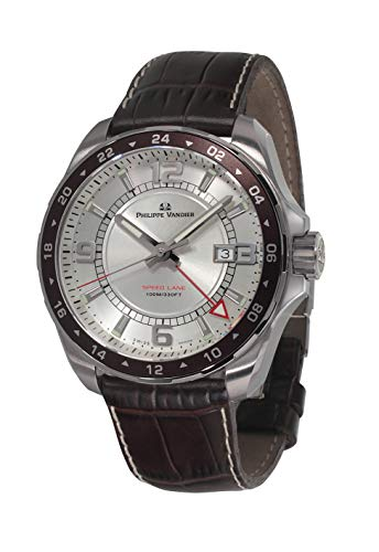 Philippe Vandier Orologio da uomo SWISS MADE Speed Lane GMT Silver Swiss Quartz Movement con cinturino in pelle e vetro zaffiro