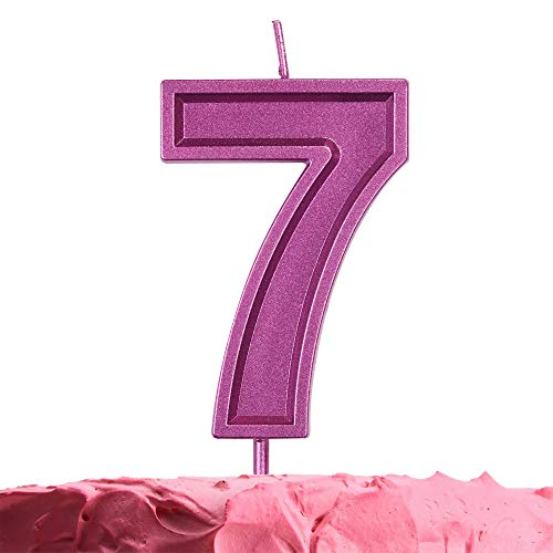 GET FRESH Number 7 Birthday Candle – Purple Number Seven Candle on Stick – Elegant Purple Number Candles for Birthday Wedding Anniversary – Perfect Girl's 7th Birthday Cake Candle – Purple 7 Candle