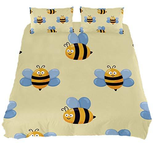 ASIGA Kawaii Cute Baby Bee Cartoon Double Duvet Cover Set 3 Pieces Bedding Set for Women Men,Bedroom Bed Linen