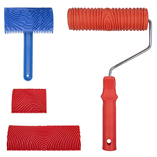 MOCOLOM - Juego de 4 herramientas de pintura de grano de madera empaistic de goma con mango, juego de herramientas de pintura de grano de madera para decoración de pared