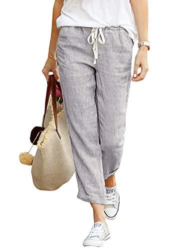 Yidarton Damen Hose Sommer Stoffhose Einfarbig Freizeithose Elastischer Bund Leinenhose Mit Taschen (Grau, 2XL)