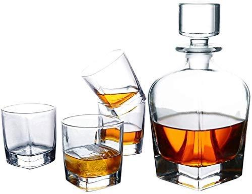 Decantador de whisky de vidrio hecho a mano / de vino, jarra de whisky, botella de 700 ml con 4x 300 ml de vaso de whisky, decantación de cristal, caja de Cadea hermosa, 5 piezas / código de productos