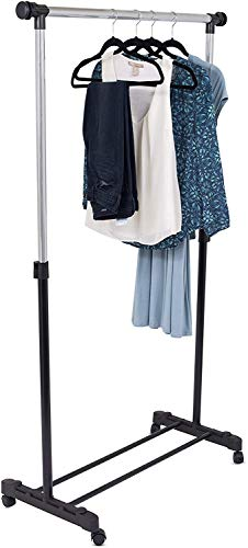 Internet's Best Portable Clothes Garment Rack - Steel Rolling Closet Wardrobe Organizer - Adjustable Height and Expandable Hanging Rod - Bottom Shoe Shelf - On Wheels -Chrome & Black
