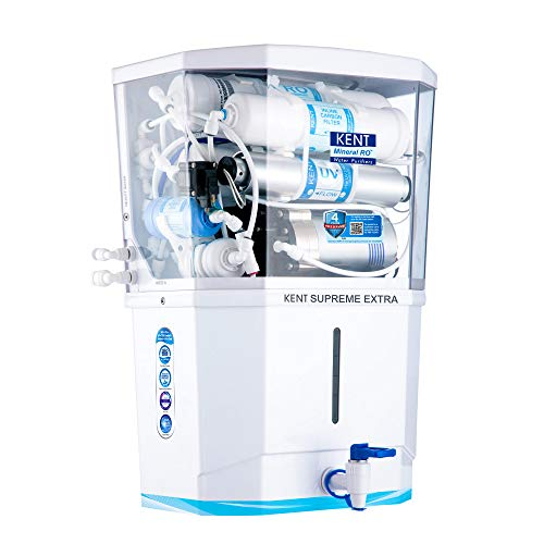 KENT Supreme Extra 2020 (11113), Zero Water Wastage, Wall Mountable, RO + UV + UF + Alkaline + TDS Control + UV in Tank, 8 L Tank, White, 20 LPH Water Purifier