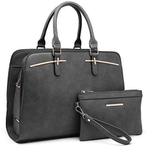 Dasein Women Satchel Handbag Shoulder Purse Top Handle Work Bag Tote Bag With Matching Wallet (Grey)